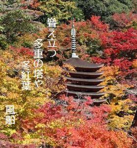 芭蕉から文月まで     「冬紅葉」       聳え立つ多重の塔や冬紅葉    風船