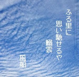 芭蕉から文月まで       「鰯雲」      ふる里に思い馳せるや鰯雲    風船      自転車の妻に驚く鰯雲