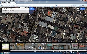 パソコントラブル 路地が見れないので、 航空写真で見てみました。 様子は変わってますが、 路地を入った空き地あたりだっ