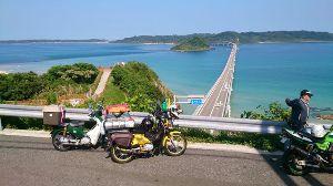 山口よりトコトコ走り隊 田万川キャンプ場に北海道キャンツーからの帰り道で立ち寄られているクロスカブの友人をお出迎え^^ 角島