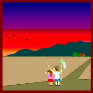 sora(空) 夕やけこやけで( ;  ; )   日が暮れて ( ;  ; ) 山のお寺の ( ;  ; ) 鐘が