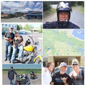 高年齢70歳以上バイク好き集合 右端の彼は7月~8月にハーレーでアメリカ横断一人旅をしてきました。  知多内海で30歳以上限定ライダ