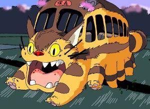★★★アニメ関連山手線ゲーム☆☆☆ 11.ネコバス    「となりのトトロ」より。  ネコの頭部で、体はバスのような箱型の、  妖精のよ