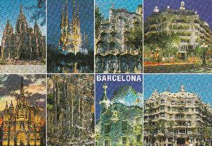 ♪ふる里を愛する人は~心清き人~ 続バルセロナよりのフオトです。  世界的な建造物が建ち並んでいる。  ポスト・カードです。   後、