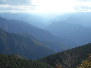 兵庫わびさびの道 弐 今晩は らくちゃんデス、 写真:大台ヶ原の 青い山々。