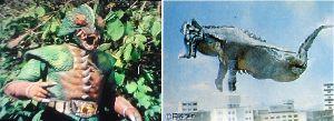 ■特撮界 悪のヒーロー■ 同じく野武のぶ太さん推薦のカメレキング。  左は仮面ライダースーパー1、右はウルトラマンA。なぜか空