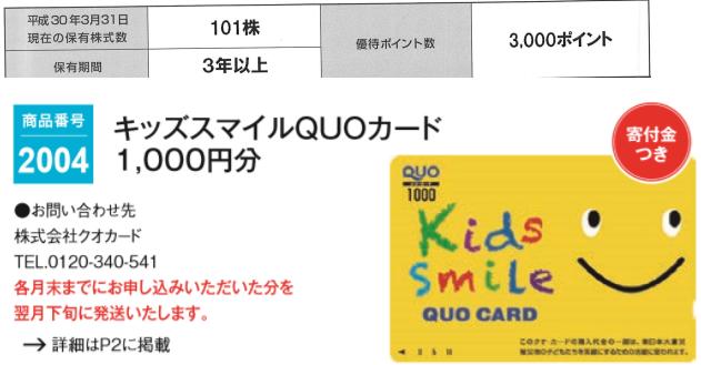 5949 - ユニプレス(株) 【 株主優待 案内到着 】 (100株 3年以上:3,000ポイント) キッズスマイルQUOカード1