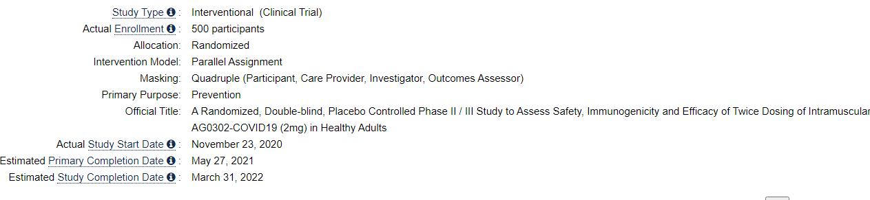 自分用ジョー 第一次完成日 :2021年5月27日 研究完了日 :2022年3月31日  完成日 臨床試験の最