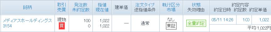3154 - メディアスホールディングス(株) 我慢出来ず、 100株 1,022円指値買い で入りました。 クオカード優待大好きなので。 長期保有