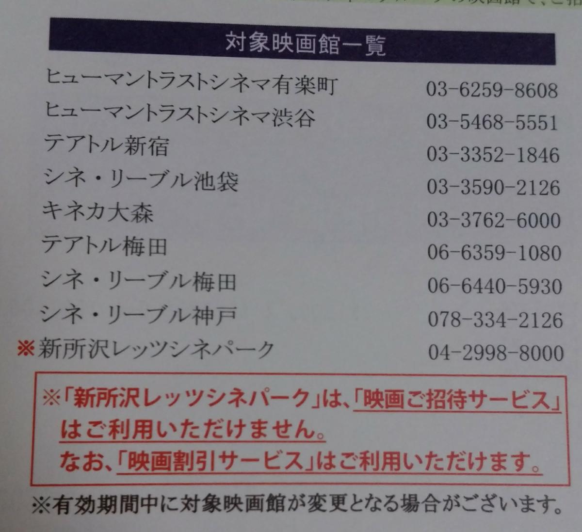9633 - 東京テアトル(株) あー!  新所沢レッツシネパークは、優待券(招待券)使えないんだ!!  昔は使えてましたよね? どん