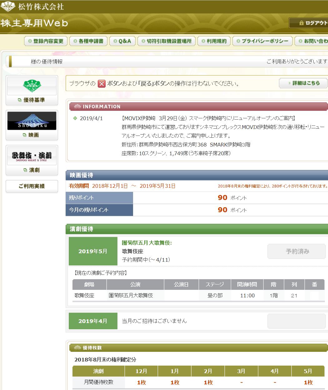 9601 - 松竹(株) 2月公演以来の 【 演劇優待の予約日 】。 「歌舞伎座 團菊祭五月大歌舞伎」。 1F後ろの席だけど、