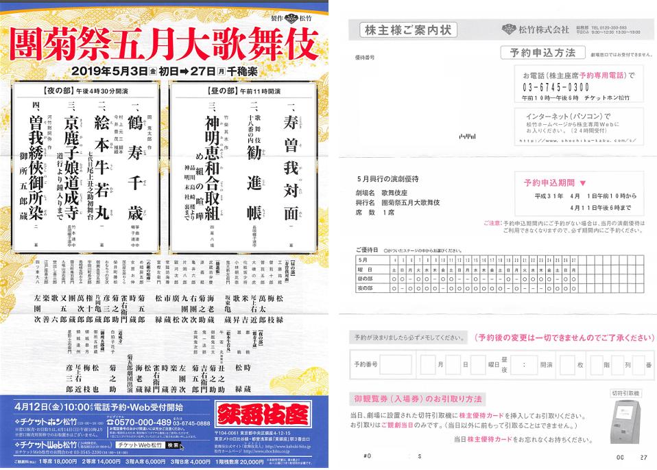 9601 - 松竹(株) 【 5月演劇優待案内状 到着 】 歌舞伎座 團菊祭五月大歌舞伎 -。