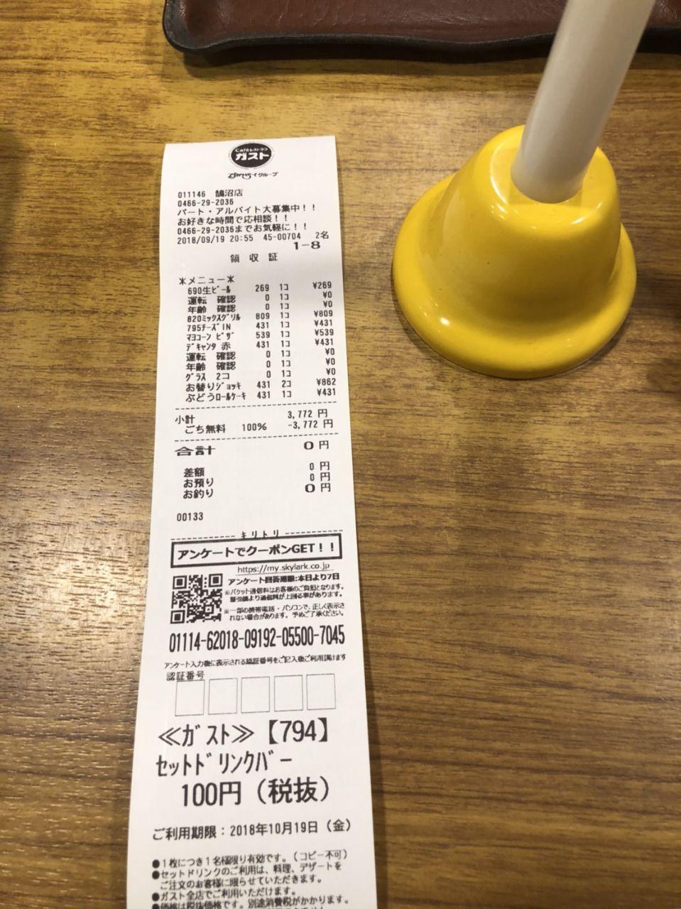 3197 - (株)すかいらーくホールディングス ゴチガスト当たりました、ありがとう!