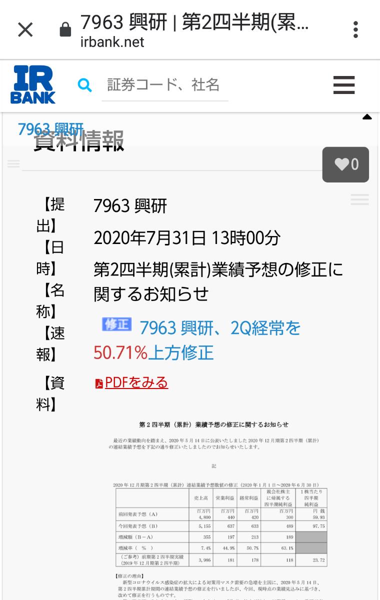 6849 - 日本光電 医療マスクの興研、本日決算前の上方51%以上の好決算の修正