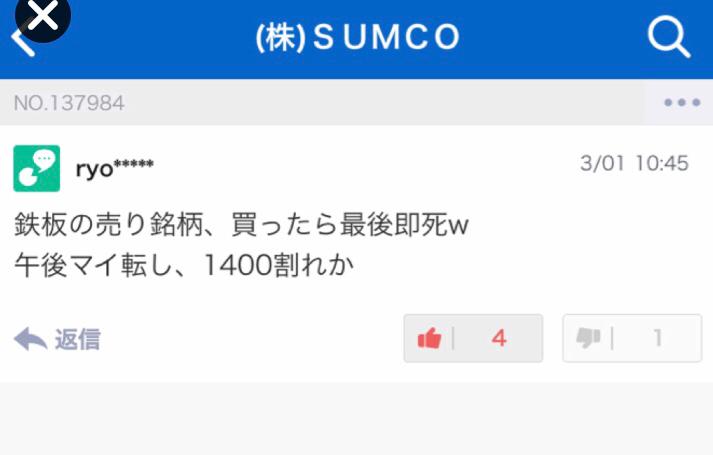 3436 - (株)SUMCO 鉄板の売り銘柄