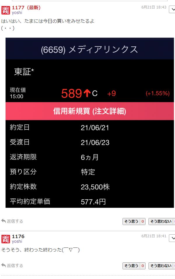6659 - (株)メディアリンクス 大損ぶっこきマンYOSHI😂