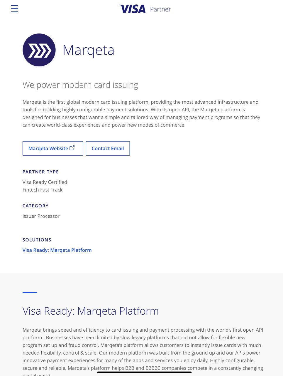 V - ビザ Visa Ready: Marqeta Platform