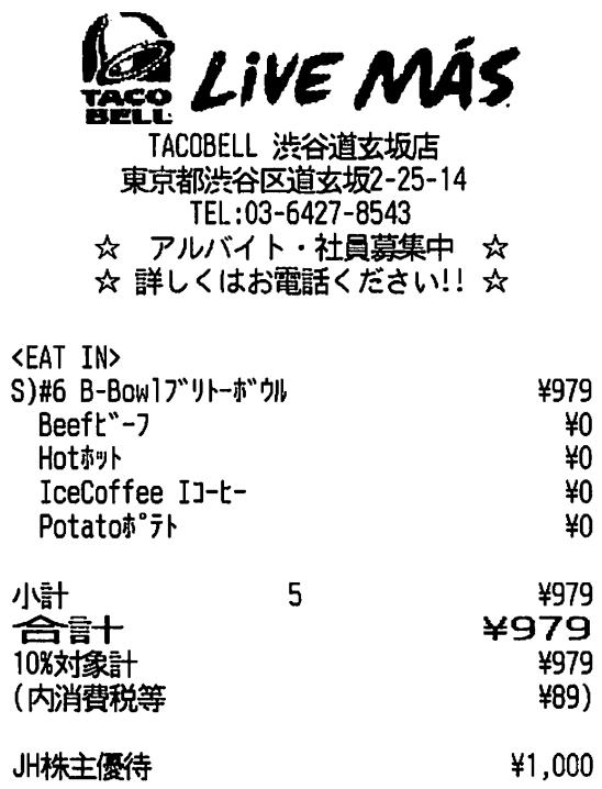 3069 - (株)JFLAホールディングス 株主優待券は今まで、 「とり鉄」でしか使った事なかったけど、 渋谷の 【 TACO BELL 】 に