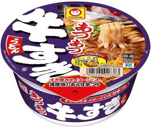 8267 - イオン(株) マルちゃん あつあつ牛すきうどん           甘めのつゆに牛肉と小さく切った揚げの入ったうど