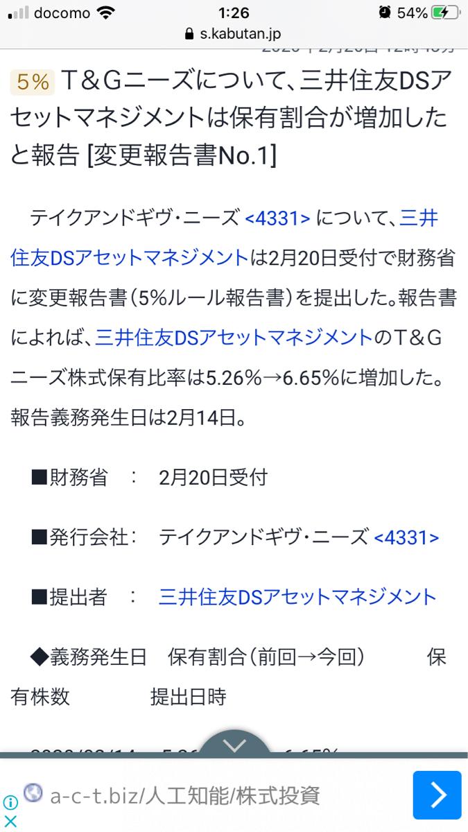 4331 - (株)テイクアンドギヴ・ニーズ 仕込んできてますね!