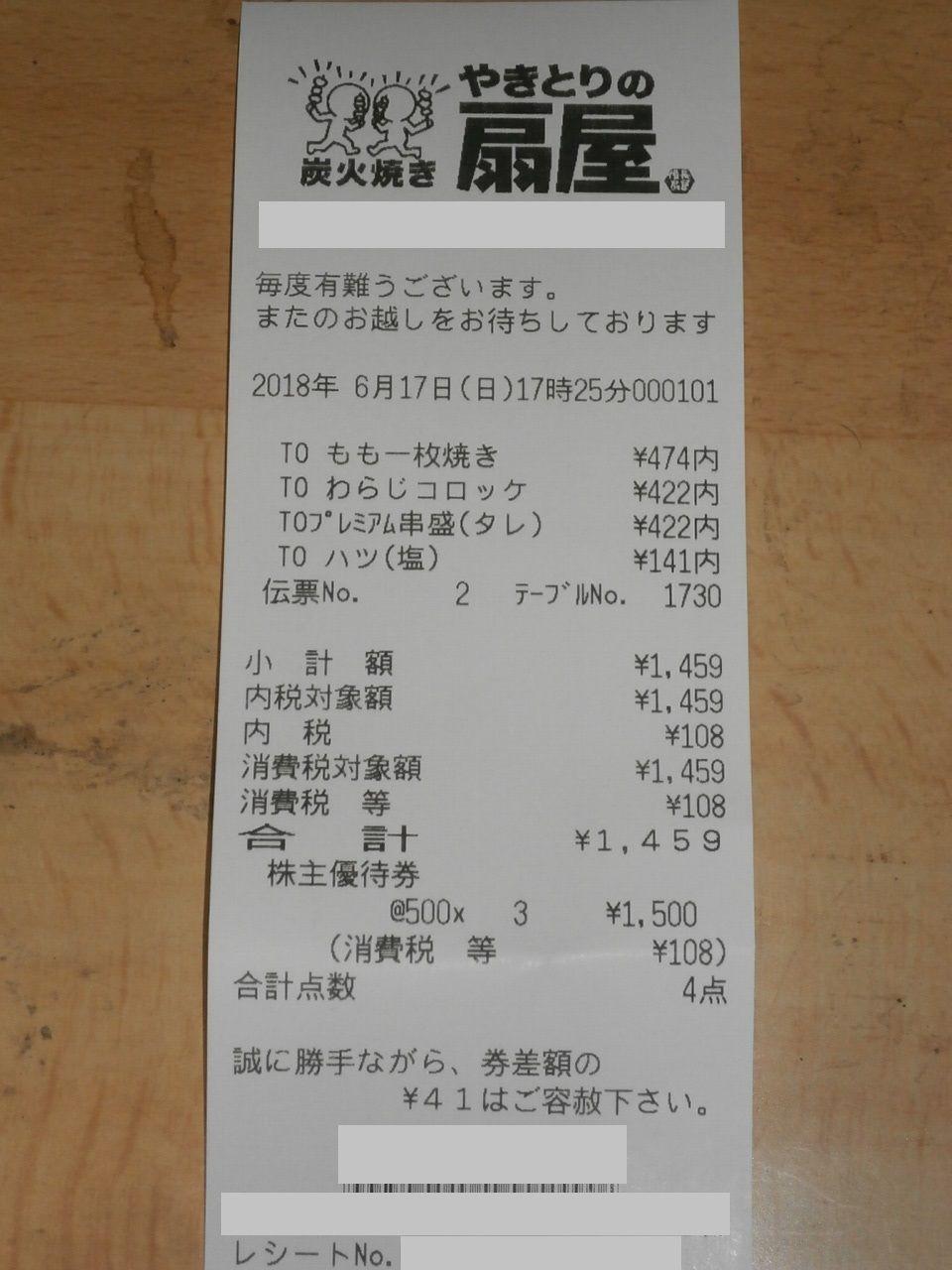7918 - (株)ヴィア・ホールディングス 思い立ったが吉日 改悪前の優待 期限切れ前に使い切りました。 焼き鳥丼にでもするかのぉ~  不覚!!