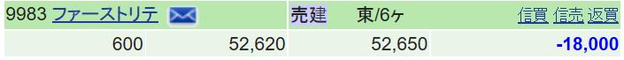9983 - (株)ファーストリテイリング ドテン600 上に行っても空は、7月下旬まで自重するつもりだったが・・・