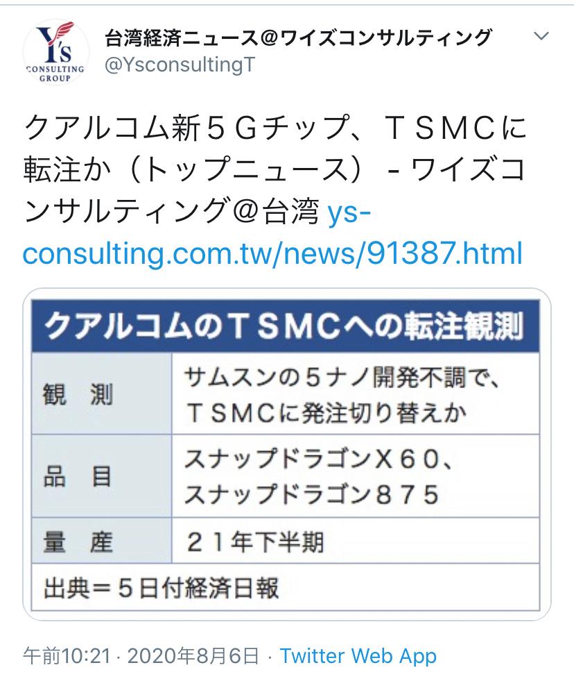 TSM - 台湾セミコンダクター・マニュファクチャリング 米クアルコムがサムスンからTSMCに鞍替え