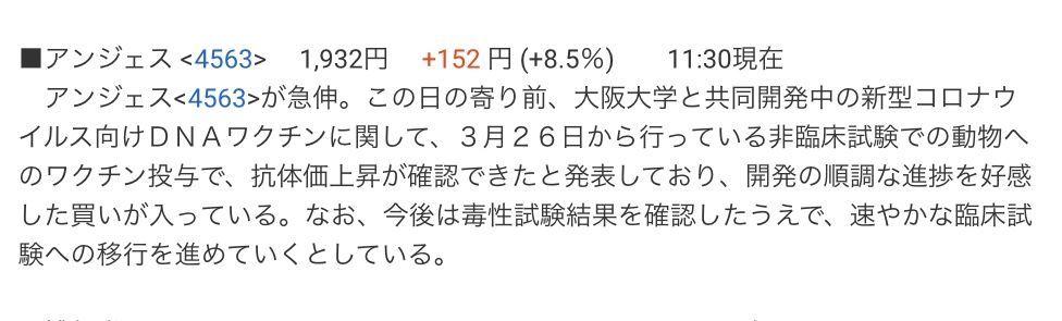 4563 - アンジェス(株) 株探。昼刊にて(^^)b。