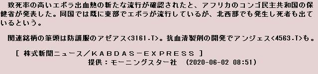4563 - アンジェス(株) 今朝の材料
