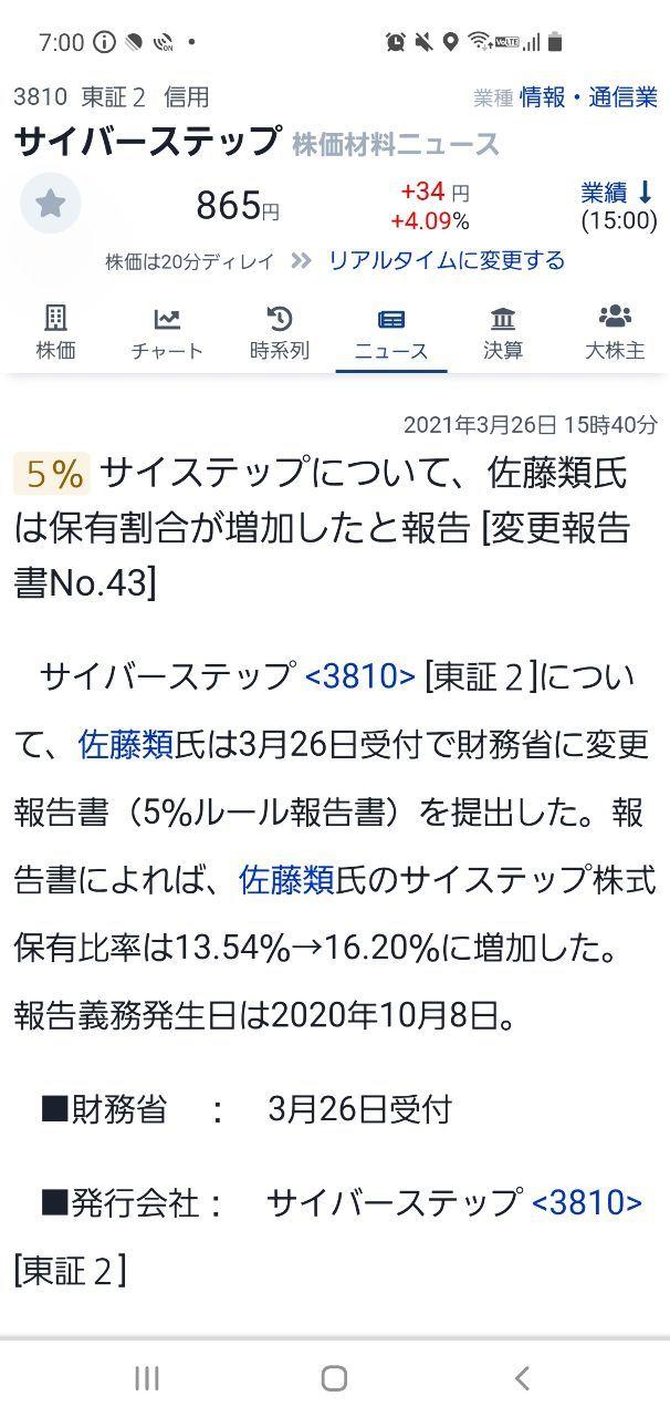 3810 - サイバーステップ(株) こんなニュース有ったんだな🙂 自信の表れか?