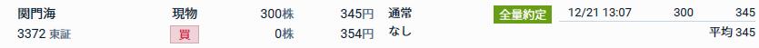 3372 - (株)関門海 自分も本日、 345円で300株買って、 【 合計600株ホルダー 】 になりました。 ※2017/
