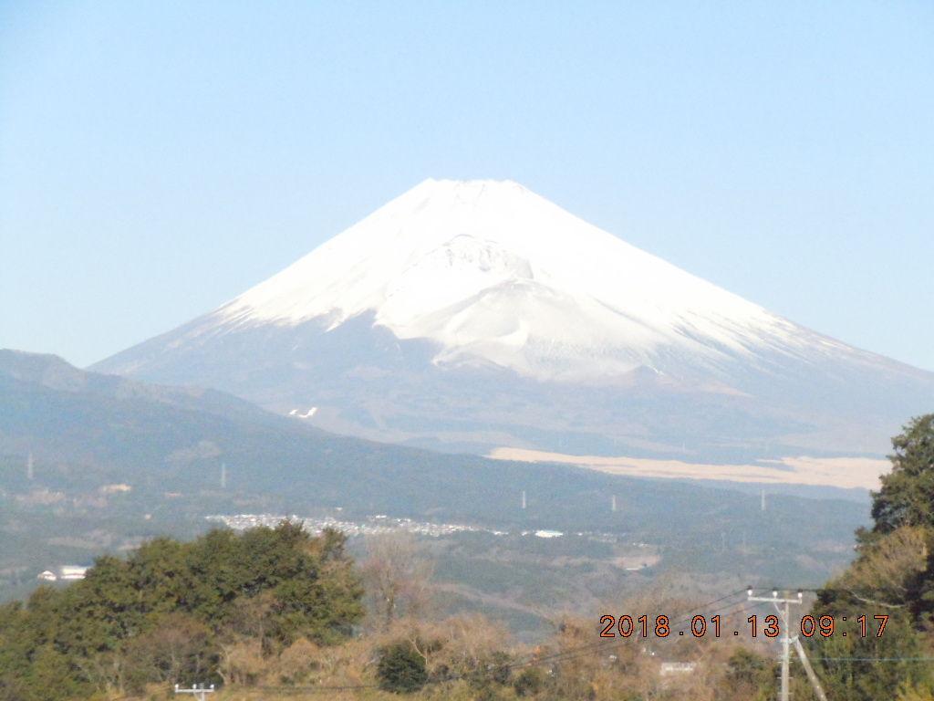 走った後のビールはうまい!! 野鳥を取り込んでのスナップさすがです。  今朝の富士山です。