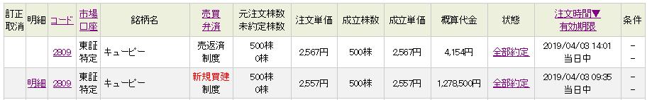2809 - キユーピー(株) さきほどのドスンと来たところで約定して、2557円→2567円の+10円抜きで、今夜のおか