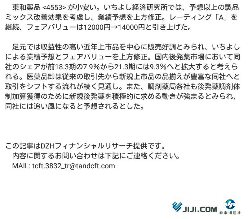 4553 - 東和薬品(株) 今日は反動で下がったが、材料いっぱいあるから、明日から上がる。 間違いない。