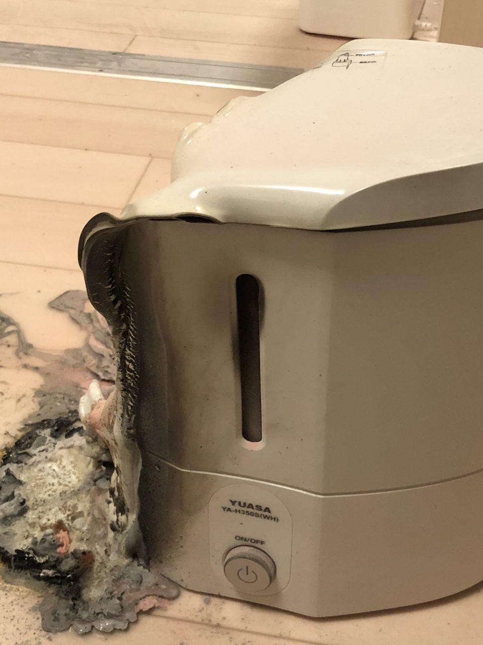 8074 - ユアサ商事(株) 大変だー  寝てたら加湿器燃えて火災報知器ジャンジャン鳴ってて、人生で初めて119した 火は消化器で