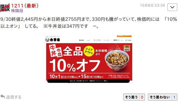 9861 - (株)吉野家ホールディングス 恥ずかしい英語w 株階段って勉強できなかったんだろうな。  > 「10%以上オン」 してる。