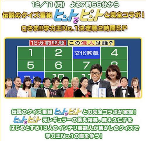 9409 - (株)テレビ朝日ホールディングス Qさま!!           コラボって落ち目になったゲームがやる常套手段だよ。 そろそろ打ち切っ