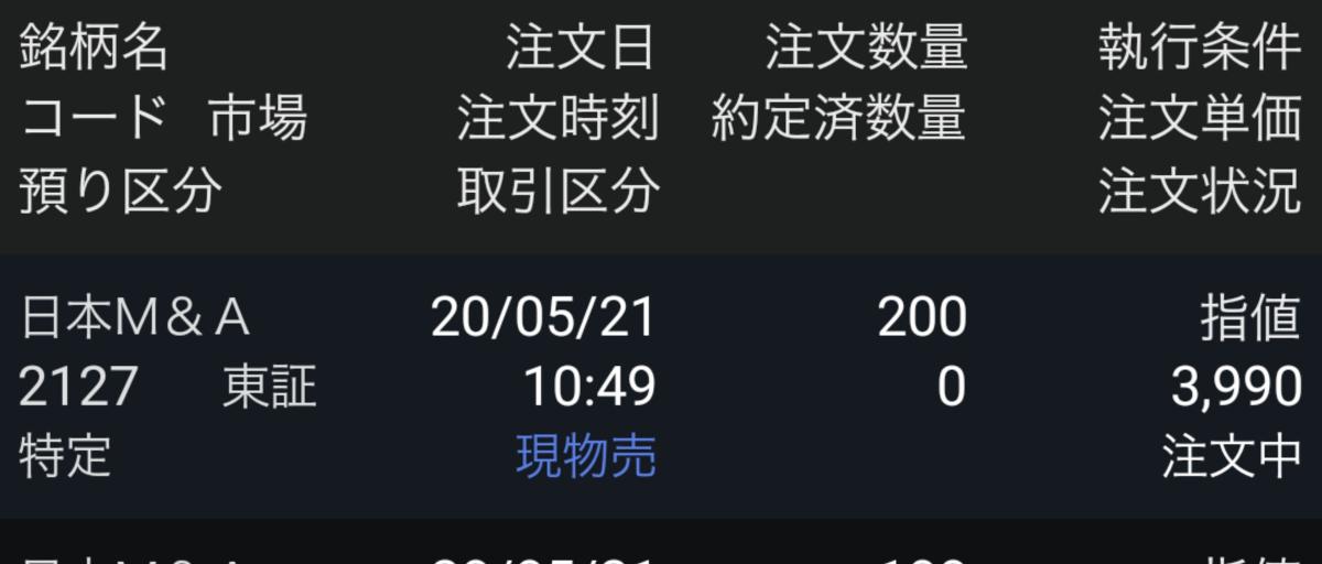 2127 - (株)日本M&Aセンター あと5円下げとけば売れたのか…