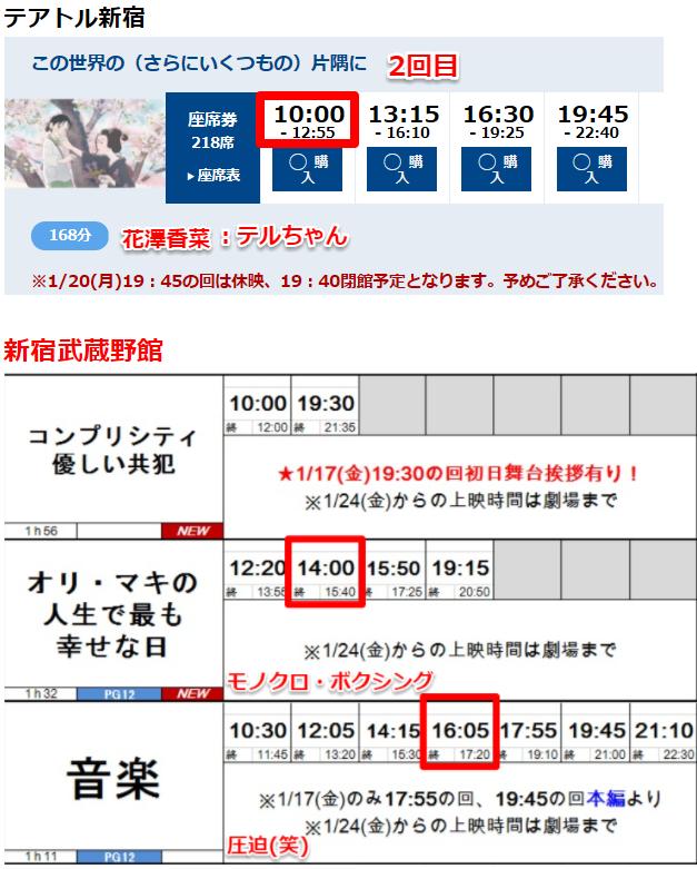 9635 - 武蔵野興業(株) 新宿で、3本観て来ました。 【 音楽 】 は大人気ですな -。