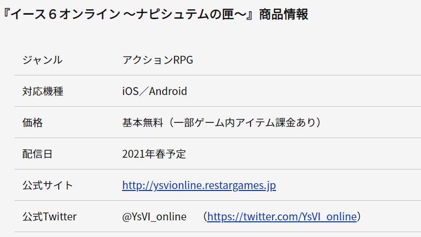 3723 - 日本ファルコム(株) スマホイース6は買い切りでなく課金制確定  【スマホ用オンラインRPG『イース6 オンライン~ナピシ