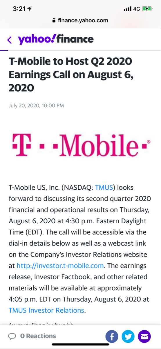 9984 - ソフトバンクグループ(株) TMUSのQ2 Call...日本時間8/7の早朝  楽しみです^^
