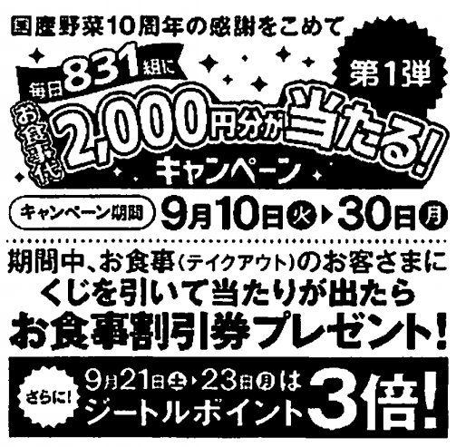 8200 - (株)リンガーハット アンケート無料餃子も凄いけど、 この「毎日831組にお食事代2,000円分当たるキャンペーン」も大盤