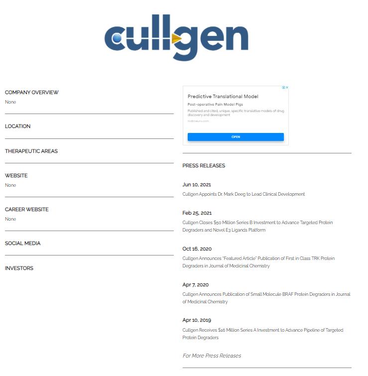 2160 - (株)ジーエヌアイグループ Cullgen Inc.がpre-IPO PHARMAに登録されました♡ https://www.p
