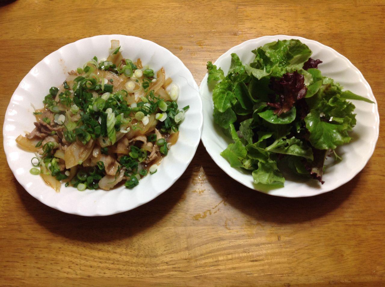 今日の晩御飯 こんばんは 晩御飯 豚肉の生姜焼き 玉ねぎたっぷり入れ  万能ネギちらしまし 霜で弱った リーフレタ