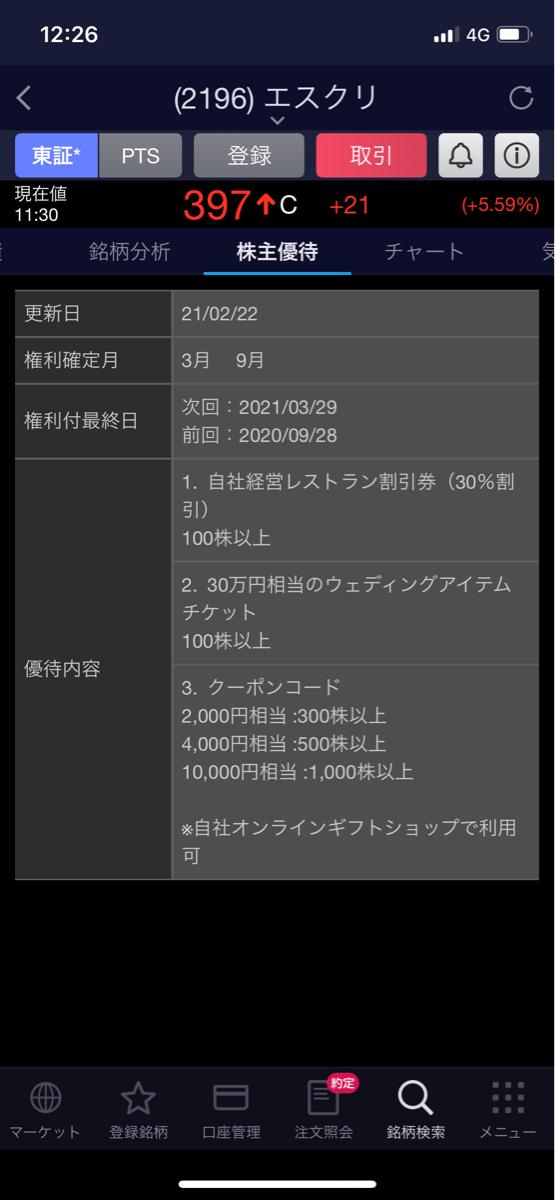 2196 - (株)エスクリ 金曜に買ったの数ヶ月持つつもり。 優待も持ち越すのでギフト何もらおうかな。 30万のウェディングチケ