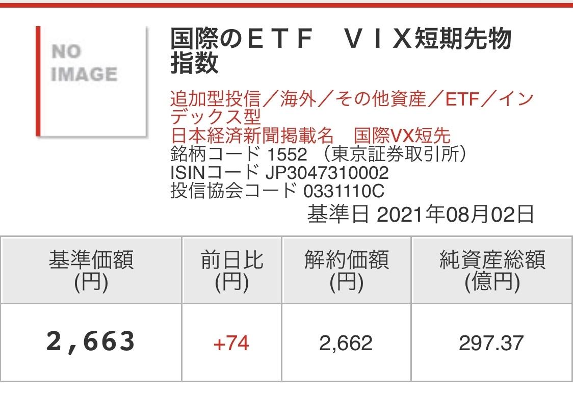 No.305736 基準価格2,663 終値2,6… - 1552 - 国際のETF VIX短期先物 ...