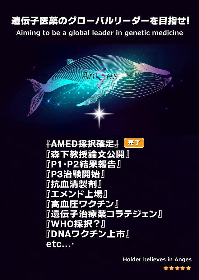 日本海 日本海のみなさん、応援お疲れ様です。今日はなんとかふんばって4桁復帰。アンジェスの技術が一般に認めら