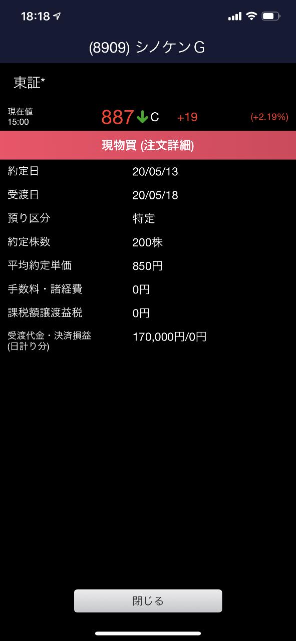 8909 - (株)シノケングループ 買ったど〜