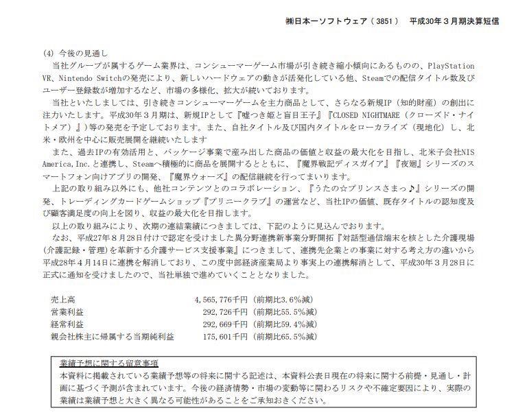 3851 - (株)日本一ソフトウェア 来期見通し大幅減益ですね