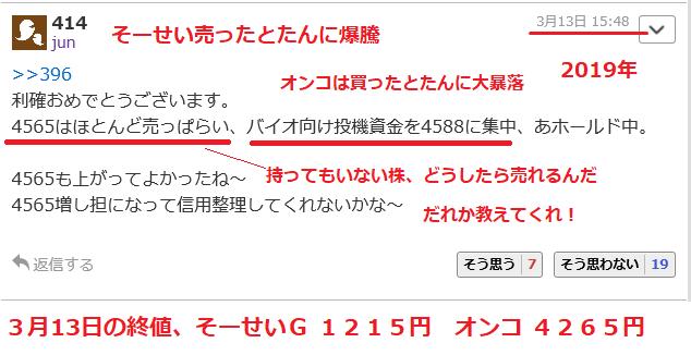 4565 - そーせいグループ(株) ちなみに、このあっフォー・ぢゅんの投資は、こんな感じ  > アホアホマンは日本電子材料で買い煽